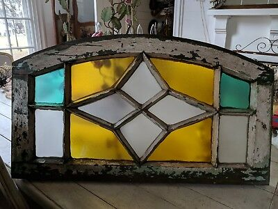 Antique Stained Glass Arched Window Star Design Turquoise Aqua Yellow Beautiful!