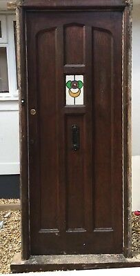 Large Solid Oak Front Door Frame Antique Period Old Leaded Stained Glass Reclaim