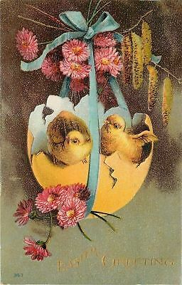 Easter~Chicks In Broken Yellow Shell~Blue Ribbon~Pink Clover~Catkins~Gold~Emb