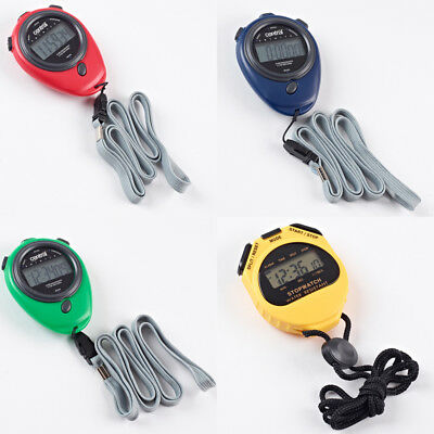 Central Multifunction Color Coded 7mm LCD Display Stopwatches Set Of 4 Colours