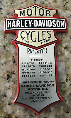 "Harley Davidson Oil Tank Patent Nameplate Metal Emblem 3"" X 1""3/4 Made in USA"
