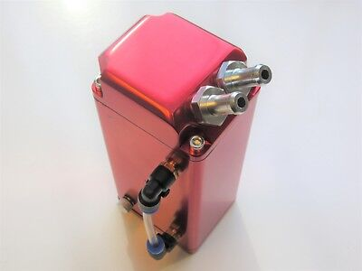 Oil Catch Tank, 10mm Hose Fittings - RED (Alloy Square Rectangular Can) UK