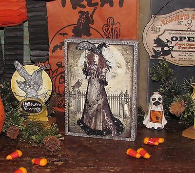 Primitive Antique Style Victorian Halloween Black Magic Witch Moon Canvas Sign