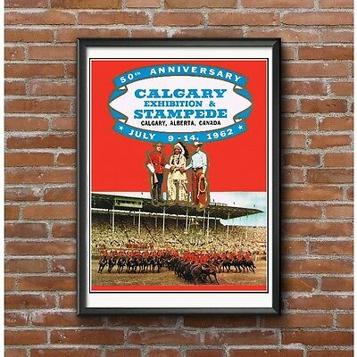 Calgary Stampede 1962 Poster - 50th Anniversary Event Canadian Mounties Cowboys