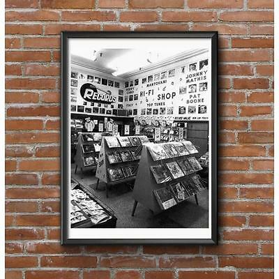 Record Store Poster - 1950's Record Department Albums Singles Display