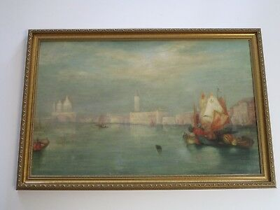 Vintage Antique Painting 19Th Century Impressionism Landscape Boats City As Is