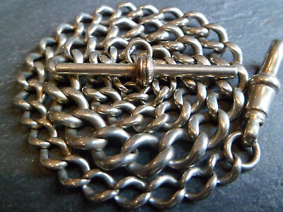 Antique Silver Tone Chunky Graduated Albert Pocket Watch Chain