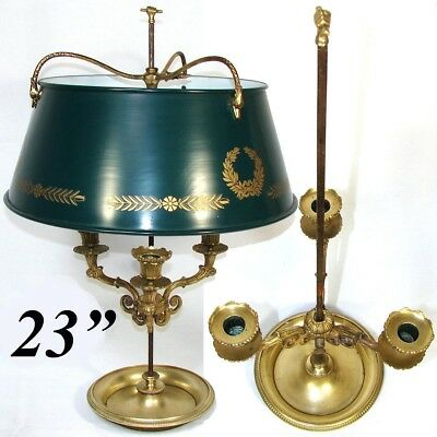 Antique French Bouillotte Lamp, Empire Period 3-Branch, Tole Shade, Swans c.1810