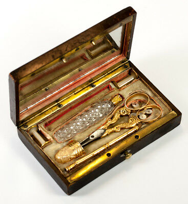 Antique French Palais Royal 18k Gold Sewing Set, Etui, Thimble, Scissors, Scent+