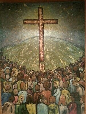 Vtg 70s Christian Movement Impressionism Painting signed Oil 1970 Painterly