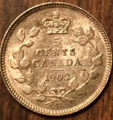 1902H CANADA SILVER 5 CENTS - Large H variety - Uncirculated to UNC+!