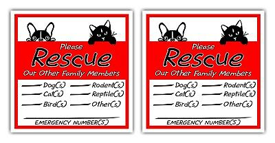 PET ALERT *IN CASE of EMERGENCY*Vinyl Decal Sticker Sets **Free Shipping**