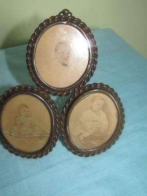 Antique Bronze/Brass Triple Photograph Frame Easel Stand