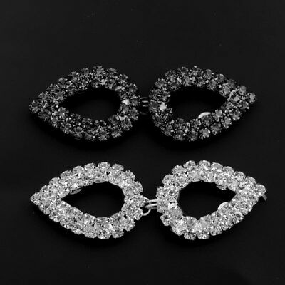 1pc Sew On Button Rhinestone Crystal Hook And Eye Clasp Wedding Dress Coat Decor