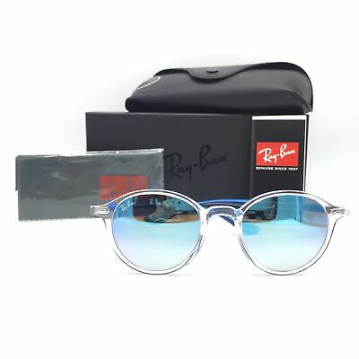 7b4592009a3 New Ray-Ban RB4237 6289 4O Transparent Blue Round Sunglasses Mirrored Lens  50mm