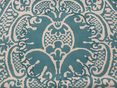 "5.5 Yards of 15"" Wide Quadrille Outdoor Veneto Volpi Turquoise Fabric Upholstery"