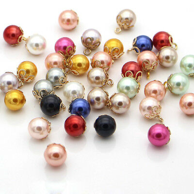 10x Faux Pearl Beads Button For Doll Kids Wedding Dress Costume Sewing DIY Decor