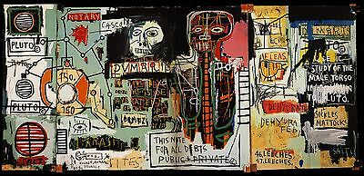 "Jean Michel Basquiat ""Notary"" HD Print on Canvas Large Wall Picture 55''x28"""