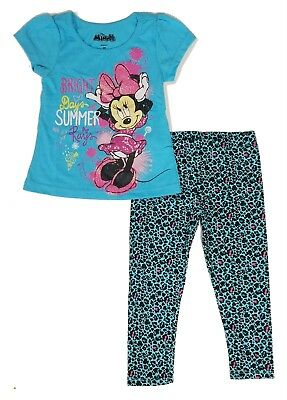 Disney Minnie Mouse Tee Shirt Toddler Girls Leggings Top Outfit Set 2T 3T 4T nwt
