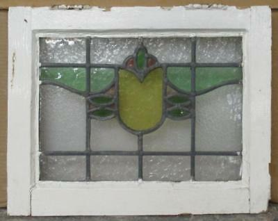 """OLD ENGLISH LEADED STAINED GLASS WINDOW Cute Floral 17.25"""" x 13.75"""""""