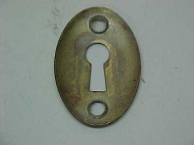 Vintage Old Hardware Escutcheon Bright Brass Oval Key Hole Keyhole Cover