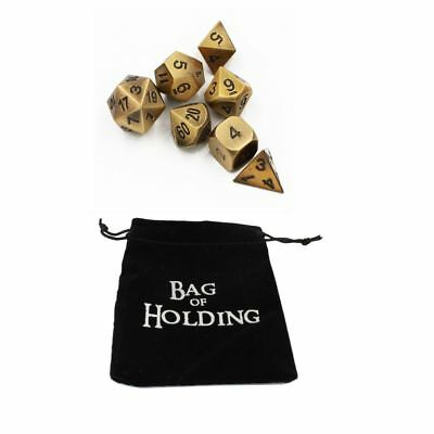 Ancient Gold Set of 7 Solid Metal Heavy Polyhedral Dice w/ FREE Velvet Bag