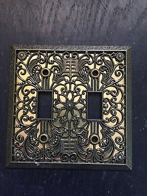 Vintage Style Wall Double Switch Plate Cover Filigree Antique Brass Metal