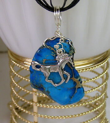 Running Silver HORSE Necklace- Wire Wrapped Blue Magnesite Sterling Silver Chain