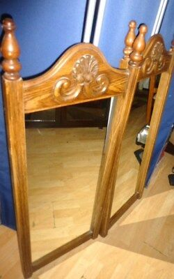 121017 PAIR Antique MIRRORS Carved Wood Mirror Wall Mirror Mid Century Mirror
