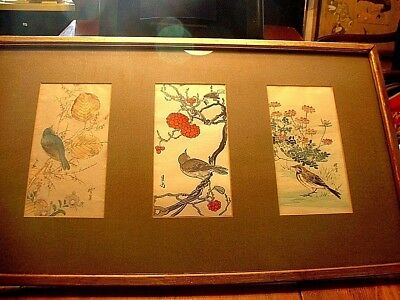 Large Vintage Japanese 3 Panel Triptych Bird Colored Wood Block Prints Signed #2