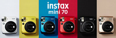 NIB Fujifilm Instax Mini70 Instant Print Camera Selfie Mode Green/Blue/White NEW