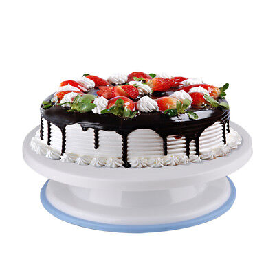 28cm Kitchen Cake Decorating Icing Rotating Turntable Cake Stand White Plastic