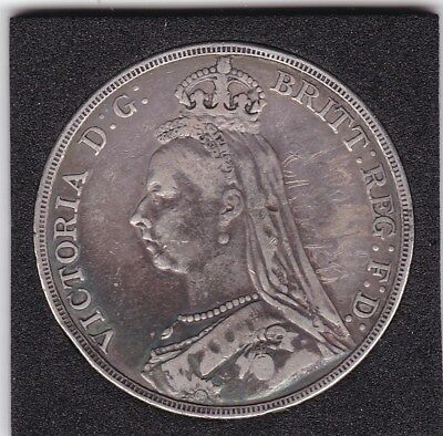 1891   Queen Victoria Large Crown / Five Shilling Coin  from Great Britain