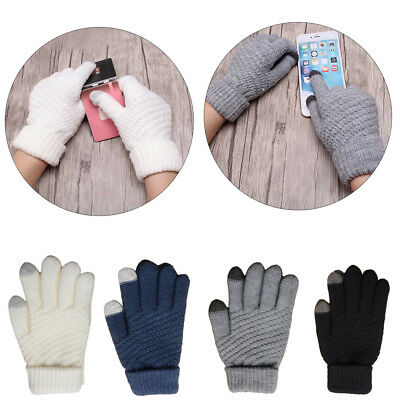 Women Men Touch Screen Wool Knit Winter Gloves Warm Texting Smartphone Phone LY