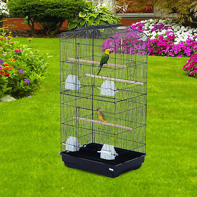 """36"""" Bird Cage Cockatoo Macaw Play House Parrot Finch 2 Doors Pet Perch"""