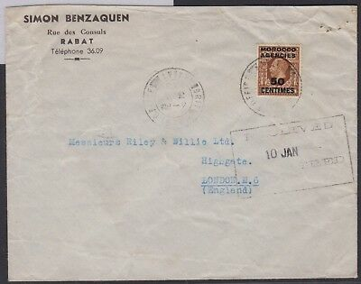 Morocco - British Post Offices 1938 Rabat merchant airmail cover to England