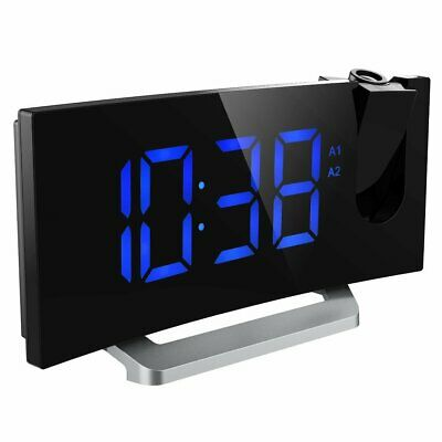 Digital Projection Alarm Clock Curved Screen FM Radio LED Display USB Charger