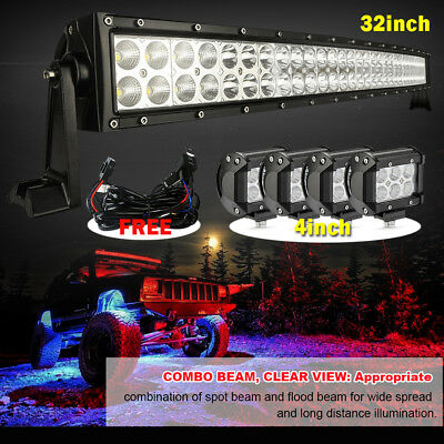 """32inch Curved Led Work Light Bar + 4x 4"""" CREE Pods Offroad Ford SUV Jeep 4WD Fog"""