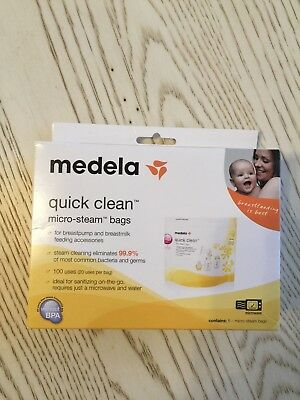 NEW Medela Quick Clean Micro‑Steam Bags  5 count box #87024 Reusable