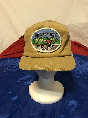 "NRA Sharpshooter ""Made In USA""! Gold Tan Corduroy Vintage 80s Snapback Cap Hat"