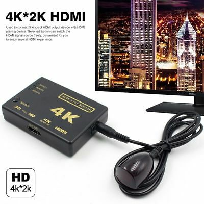 1080p 3 Port 4K HDMI Switch Switcher Selector Splitter Hub IR Remote For HDTV