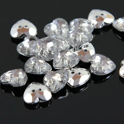 100 Pcs Clear Crystal Heart Acrylic Plastic12mm Button For Clothes Sewing Craft