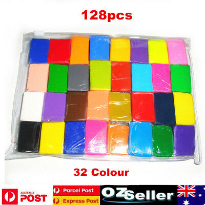 128pcs DIY Craft Malleable Fimo Polymer Modelling Soft Clay Block Set Kids Gift