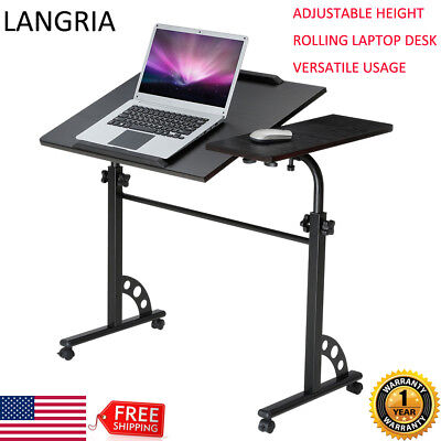 Computer Rolling Desk Laptop Height Adjustable Table Cart Mobile Bed Sofa  Stand