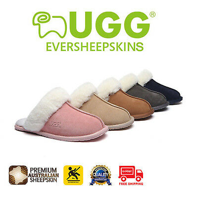 UGG Rosa Slippers Scuffs Ladies Sheepskin Lining&Suede Upper Rubber Sole