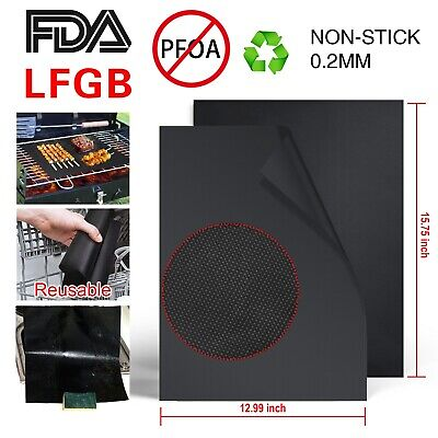 BBQ GRILL MAT set of 2 or 4 sheets, Reusable, Non-stick, Make Grilling Easy BBQ!