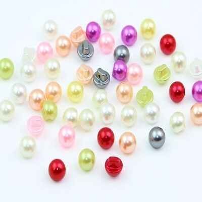 100 Pcs Mixed Colors Faux Pearl Shank Buttons For Embellishment Sewing DIY Craft