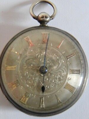 Antique Solid Silver Fusee Pocket Watch -  Silver Patterned Dial
