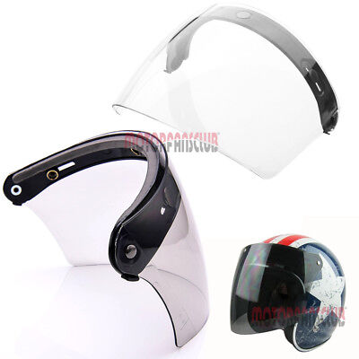 Universal 3 Snap Flip Up Visor Face Shield Lens for Open Face Motorcycle Helmets