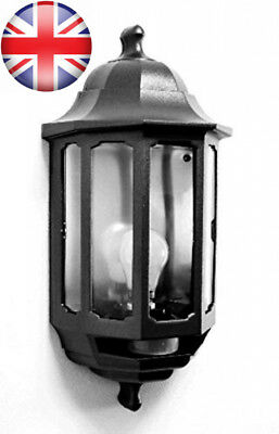 ASD HL/BK060P Half Lantern External Light with PIR Security Switch (Black)